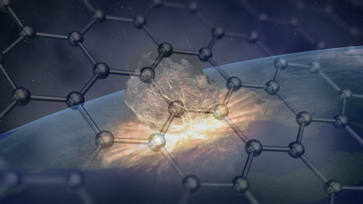 Graphene structure overlayed on meteorite artists conception